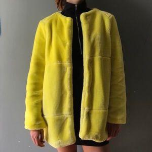 Zara Yellow Fur Pea Coat Jacket